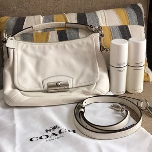 Coach Kristin small white calfskin hobo